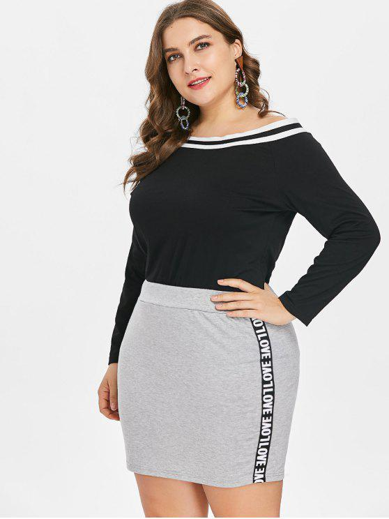 online Plus Size Long Sleeve Tee and Skirt - BLACK L
