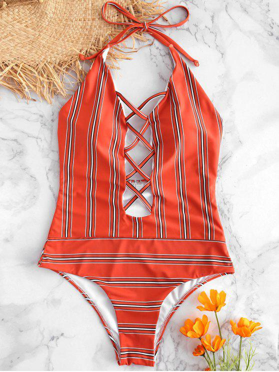 Traje de baño de rayas de corte alto de Criss Cross - Castaño Rojo M