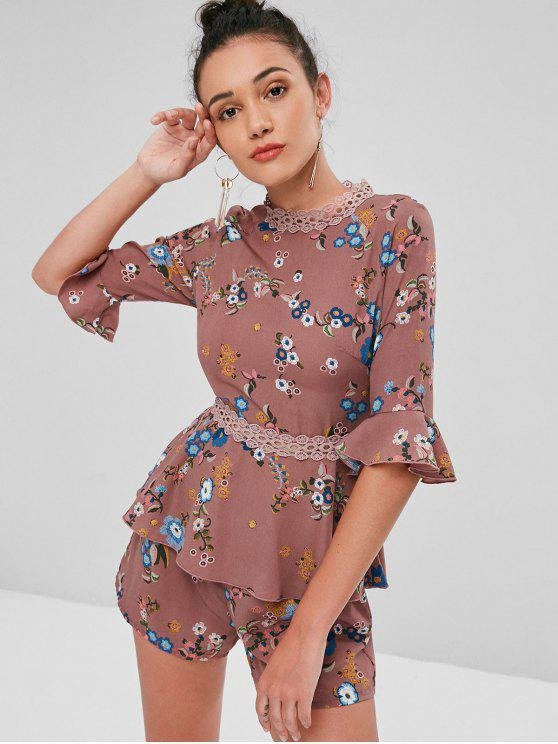 Pantalones cortos de cuadros de ganchillo floral - Rosa Khaki XL