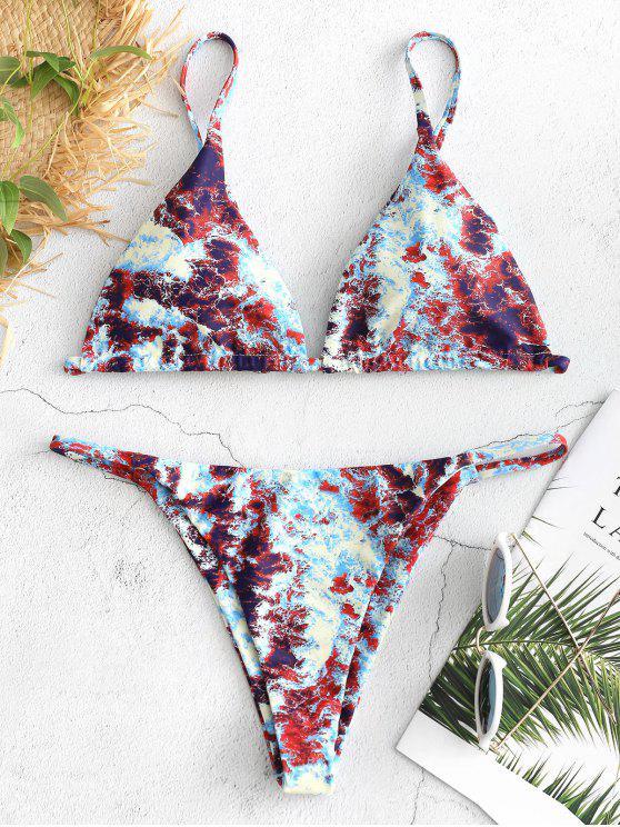 fashion Abstract Print String Bikini Set - LIGHT BLUE S