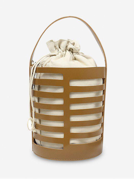 حقيبة يد جوفاء من عارضة دلو مع حزام - بنى