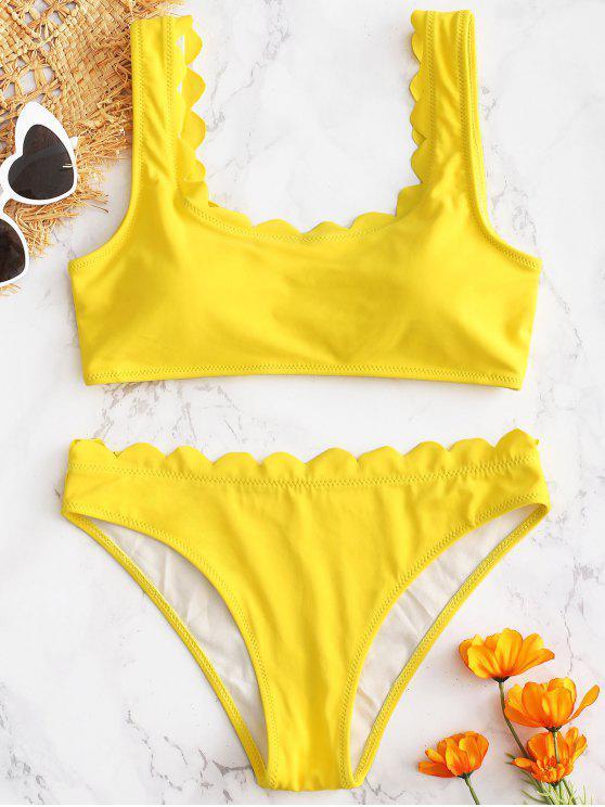 hot Scalloped Padded Bikini Set - YELLOW M