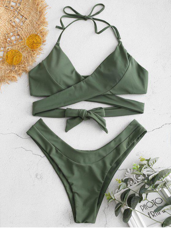 shop Wrap High Cut Bikini Set - MEDIUM FOREST GREEN S