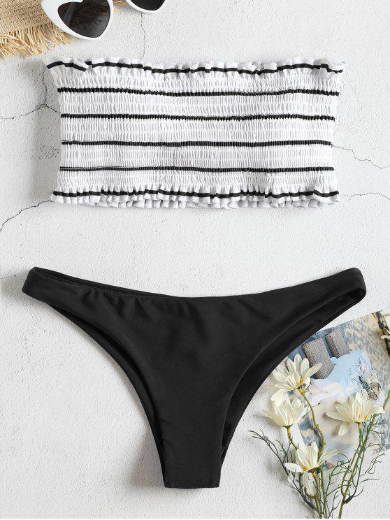 trendy ZAFUL Striped Smocked Bandeau Bikini Set - BLACK S