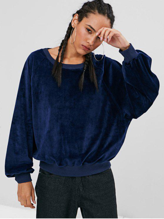 Sweat-shirt Surdimensionné En Velours Doux - Bleu profond S