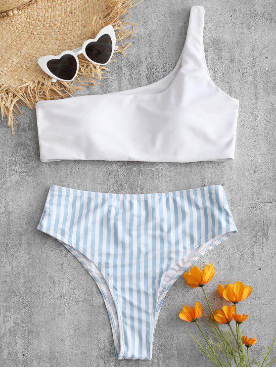 Eine Schulter Gestreiftes Hohes Bein Bikini Set - Weiß S