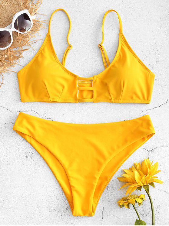 Trapez Riemchen Ausgeschnittenes Bikini Set - Niedliches Gummi Gelb S