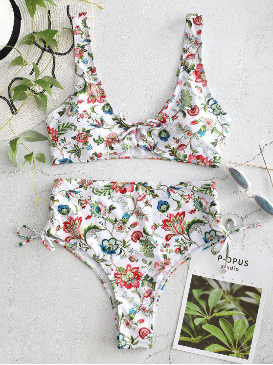 Conjunto de bikini de corte alto floral - Blanco S