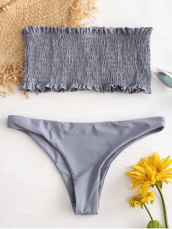 women Ruffle Smocked Bandeau Bikini Set - LIGHT SLATE GRAY S