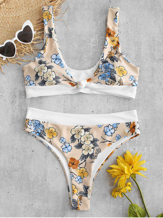 unique ZAFUL Flower High Leg Knotted Bikini Set - BLANCHED ALMOND L