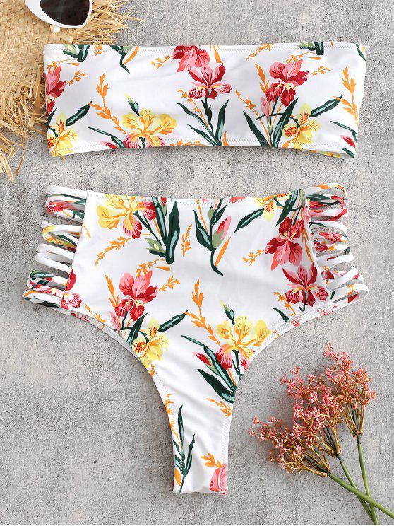 women ZAFUL Floral Bandeau Lattice Bikini Set - WHITE S