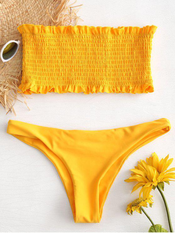 fashion Ruffle Smocked Bandeau Bikini Set - BEE YELLOW L