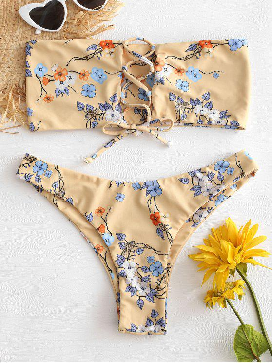 shops Lace Up Flower Bralette Bikini Set - BLANCHED ALMOND M