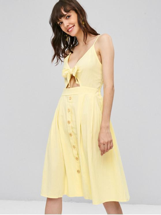 outfits Smocked Tie Front Cami Dress - LEMON CHIFFON L