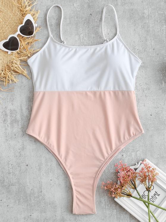 online Cami Color Block High Cut Swimsuit - MULTI L