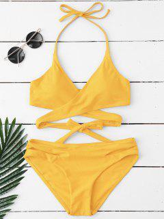 Halter Cut Out Wrap Bikini Set - Yellow L