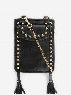 Rivet Tassel PU Leather Crossbody Bag - Black