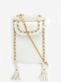 Rivet Tassel PU Leather Crossbody Bag - White