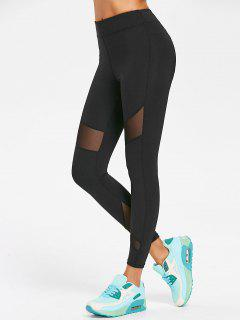 Sports Mesh Insert Leggings - Black S