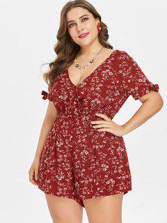 Plus Size Floral Surplice Romper - Red Wine L