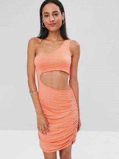 Cut Out One Shoulder Bodycon Dress - Light Salmon Xl