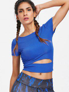 Rib Knit Cutout Gym Workout T-Shirt - Earth Blue M