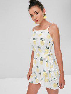 Mini-robe à Chevauchement Et Imprimée D'ananas - Blanc L