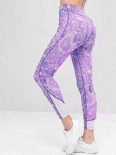 Printed Mesh Panel Sports Leggings - Purple Flower M