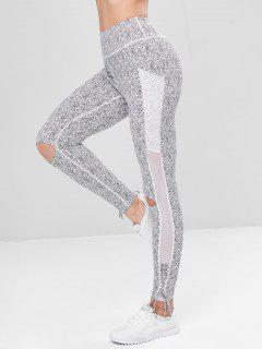 Lace Up Leopard Sports Leggings - White M