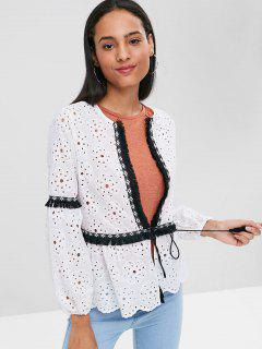 Fringed Broderie Long Sleeve Tie Front Blouse - White M