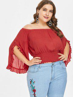 Plus Size Off Shoulder Split Sleeve Top - Love Red 3x