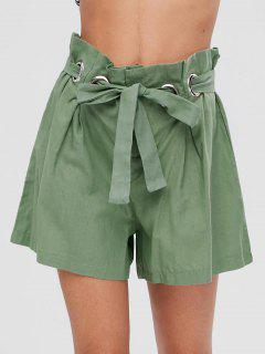 Pantalones Cortos De Cintura Alta Con Anillos Metálicos - Verde Oscuro De Mar M