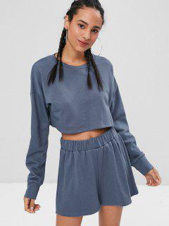 Plain Crop Shorts Set - Mist Blue M