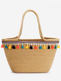 Casual Vacation Bohemian Tassels Straw Tote Bag - Dark Khaki