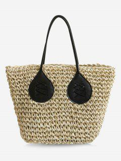 Contrasting Color Casual Holiday Straw Bohemian Tote Bag - Beige