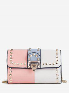 Studs Metallic Chain Chic Flap Crossbody Bag - Light Pink
