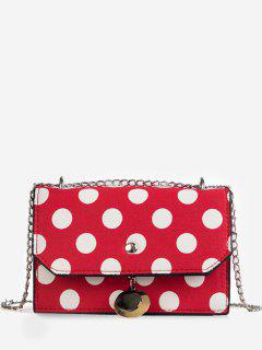 Flapped Metallic Pendant Polka Dot Color Block Crossbody Bag - Red
