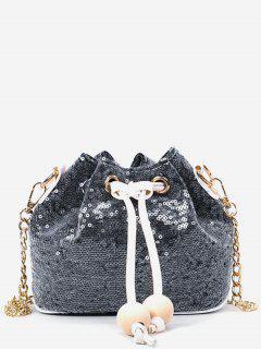 Shining Sequins Chain Buckets Shaped String Crossbody Bag - Black