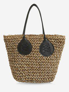 Contrasting Color Casual Holiday Straw Bohemian Tote Bag - Light Khaki