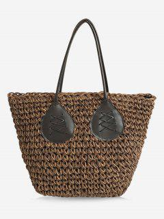 Contrasting Color Casual Holiday Straw Bohemian Tote Bag - Brown