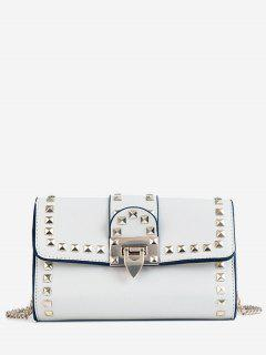 Studs Metallic Chain Chic Flap Crossbody Bag - White