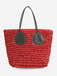 Contrasting Color Casual Holiday Straw Bohemian Tote Bag - Red
