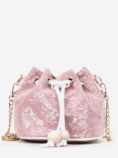 Shining Sequins Chain Buckets Shaped String Crossbody Bag - Pink