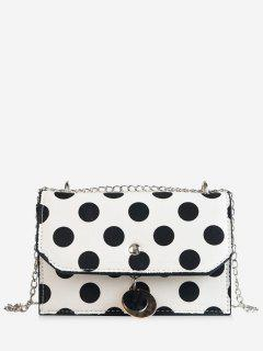 Flapped Metallic Pendant Polka Dot Color Block Crossbody Bag - White