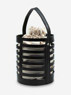 Hollow Out Casual Bucket Handbag With Strap - Black