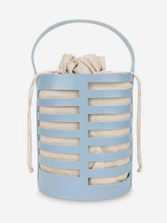 Hollow Out Casual Bucket Handbag With Strap - Blue