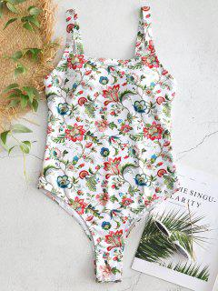 High Cut Floral One Piece Swimsuit - White L