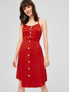 Open Back Button Up Halter Dress - Lava Red S