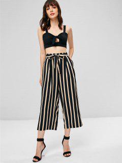 Tie Front Top And Stripes Pants Set - Black M