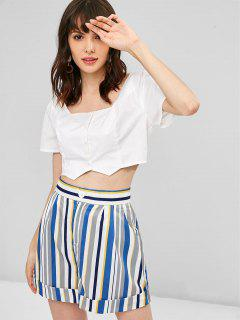 Button Up Top And Striped Shorts Set - Multi S